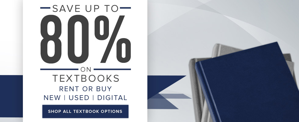 Picture of textbooks. Save up to 80% on textbooks. Rent or buy new, used, digital. Click to shop all textbook options.