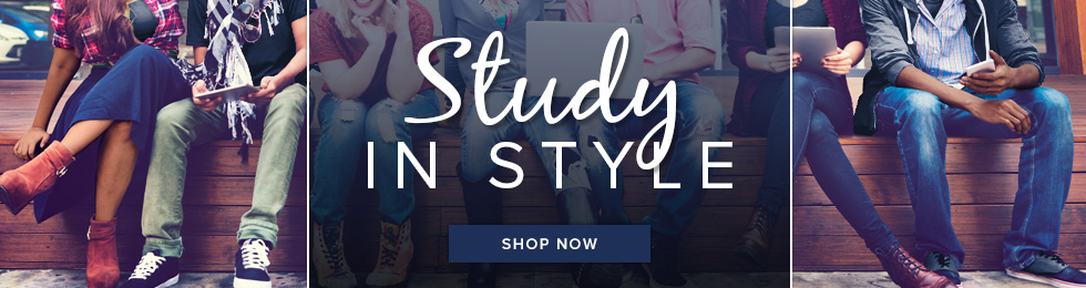 Picture of students sitting on a bench. Study in style. Click to shop now.
